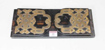 A Victorian brass mounted calamander bookslide, w.33cmCondition report: Brass mounts are quite