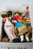A box containing a collection of various dolls house furniture and miniatures, together with a