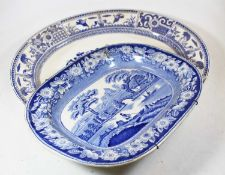 A collection of various ceramics, to include a blue and white transfer decorated dish in the