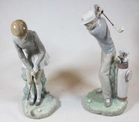 A pair of Lladro Spanish porcelain figures of golfersCondition report: Condition appears good, no