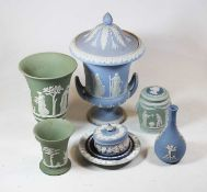 A collection of Wedgwood blue and green jasper ware, to include a compagna shaped lidded urn, h.