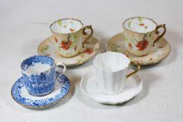 A Wedgwood porcelain part tea service; a Copeland's blue and white transfer decorated part tea
