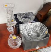 A collection of various cut glass ware to include Waterford Crystal (7)