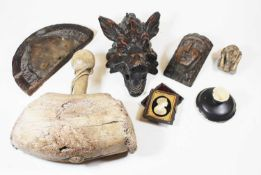 A collection of various items, to include a 19th century carved oak boar's mask, carved oak