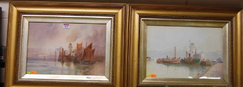 Hugh Percy Heard (1866-1940) - Pair; Harbour scenes, watercolours, each signed lower right, 25 x