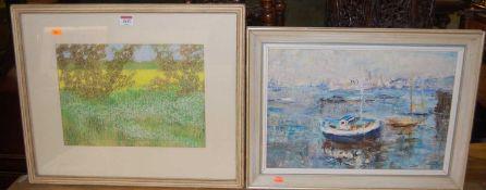 Winifred Mendham - Near the Yacht Club, Greenwich, oil, 30 x 44cm; and John McHale - Spring rape,