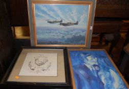 Champion - Spitfires in flight, oil on board, signed lower right, 40 x 50cm; Marco Fabiano - Pair