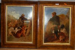 A pair of 19th century prints, each being later over-painted, depicting huntsmen and hounds in a