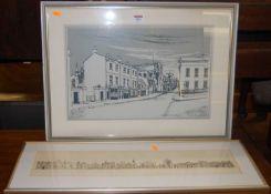 John Clibbon - Bury St Edmunds panorama, ink study, 12 x 61cm; and Peter Wagon - Crown Street,