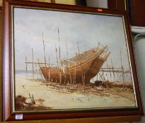 Contemporary school - Boat at low-tide, oil on board, 50 x 60cm