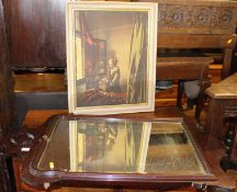 A walnut framed and bevelled wall mirror, 96 x 57cm; a reproduction canvas print; and two other