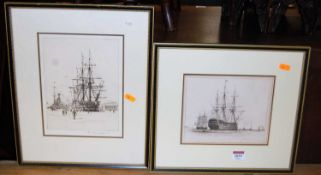 Rowland Langmaid (1897-1956) - Harbour scene, etching, 22 x 17cm; and an engraving of the Battleship