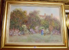 Colin Maxwell Parsons (b1936) - Picking flowers in a summer garden, oil on canvas, signed lower