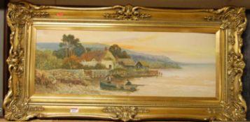 Daniel Sherrin (1868-1942) - Boating scene at sunset, watercolour, signed lower left, 26 x 72cm