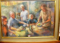 Contemporary school - Friends feasting at the patio table, pastel, signed with monogram , 54 x 78cm