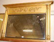 A Victorian giltwood and gesso overmantel mirror, having acanthus leaf moulded frieze, w.100cm, h.