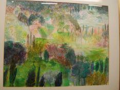 Charlotte Hodes - Tuscany, Camiore, watercolour, 48 x 61cm