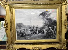A 19th century steel engraving depicting Bacchanalian Courtship Scene within a landscape, 47 x 62cm,