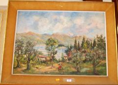 R. de Masali - Extensive landscape, oil on canvas, signed and dated '60 lower right, 49 x 67cm