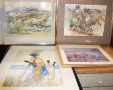 David Giffard (1931-2018) - La Finca - Spanish landscape, watercolour, signed and dated '97 lower