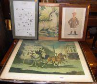 Assorted prints, to include Doris Zinkeisen - The Regency Times, Spy print etc (5)