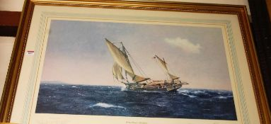L. Bagley - Joshua Slocum - Adventurer, lithograph, signed in pencil to the margin, 47 x 75cm
