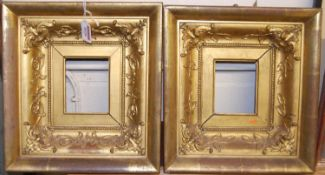 A pair of Victorian giltwood and gesso picture frames, rebate dimensions 11 x 9cm, gross