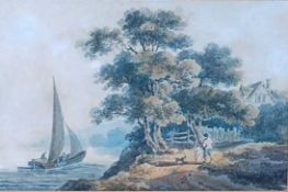 George Morland (1763-1804) - Coastal scene with figures and dog, watercolour, signed with GM
