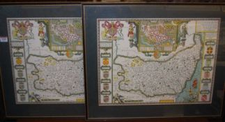 After John Speed - a pair of reproduction County maps of Suffolk, colour lithographs, 38 x 52cm