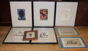 Assorted reproduction prints, to include after Picasso and Magritte; H Pennington - Pair of maritime