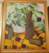 Garth Chapman - Africana, oil on canvas, signed with monogram and dated '90 lower right, 60 x 50cm