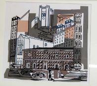 Contemporary school - Townscape, linocut, 30 x 33cmCondition report: Very fine spotting evident to