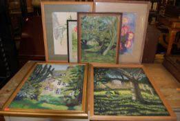 Assorted amateur oils and watercolours, to include still life studies (6)