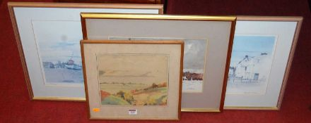 John Douglas Hosea (1910-1993) - Snow near Stoven, watercolour, signed lower right, 25 x 34cm; a