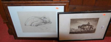 Van Hove - Life drawing, pencil with white chalks, signed lower right, 26 x 35cm; Returning home -