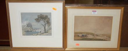 W. Bryant - Gypsy encampment, watercolour, signed lower right, 17 x 24cm; and P.G. Needell -