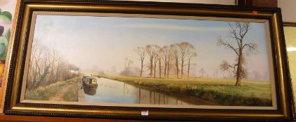 Michael Morris - Oxford Canal, Kidlington, oil on canvas, signed lower right, 44 x 120cmCondition