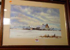 Sally Johnson - Winter landscape, watercolour, signed lower left, 35 x 56cm