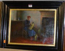 E Kesteloot - Interior scene, oil on canvas, signed lower right, 30 x 40cm