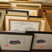 Assorted pictures and prints, primarily being wood engravings, to include Garth Chapman- Memorial of