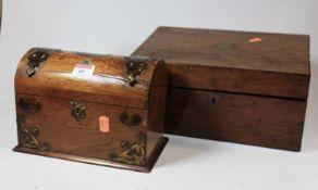 A Victorian walnut and brass mounted dome topped casket, having Mauchlin ware type decoration