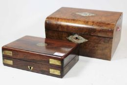 A Victorian rosewood and brass bound unfitted box, w.23cm; together with a Victorian walnut dome