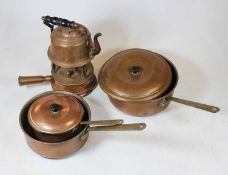 A small collection of brassware, to include a kettle on stand, saucepans etc