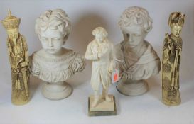 A modern Italian resin figure of Beethoven, on marble plinth, h.28cm; together with a pair of