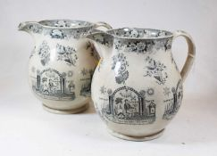 A pair of early 19th century jugs, each transfer decorated with Masonic scenes and foliage, h.