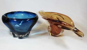 A mid-20th century amber tinted studio glass table bowl, w.48cm; together with a blue glass bowl (