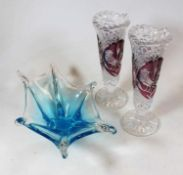 A collection of miscellaneous glassware, to include amber overlaid cut glass conical vases, blue