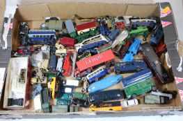 A collection of various loose and playworn diecast toy vehicles, to include London Transport