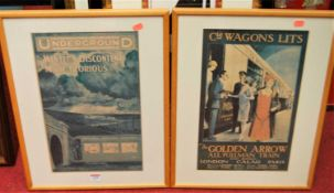 Five various reproduction travel prints, each 40 x 25cm