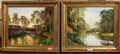 Contemporary school - Pair; River landscapes, oil on board, each indistinctly signed lower right, 24